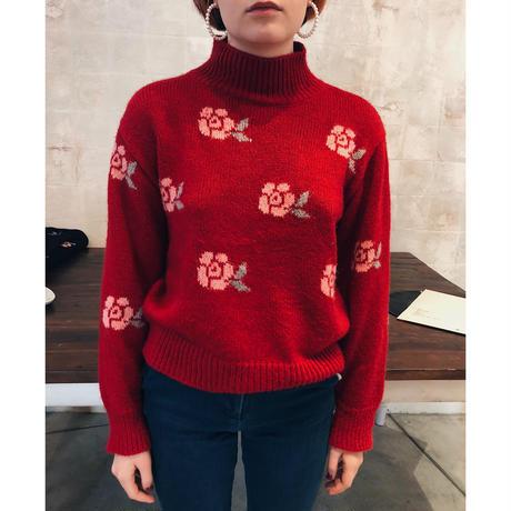 rose design knit red