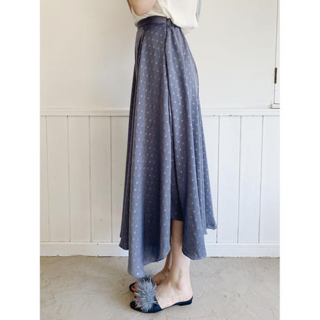 satin dot volume skirt ice blue