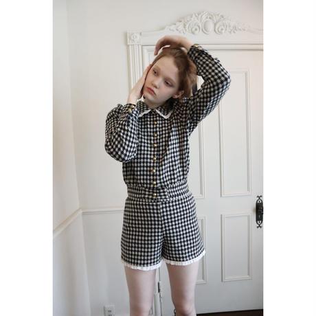 lace frill check knit short pants