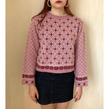 quilting flower knit pink