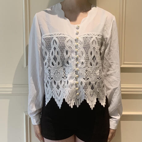 lace×pearl design blouse(No.2504)