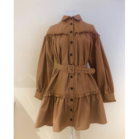 frill 2way tiered one-piece camel