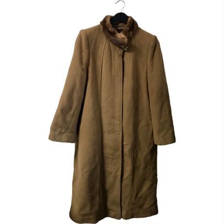 【スペシャルプライス】cashmer wool  mink fur long coat camel