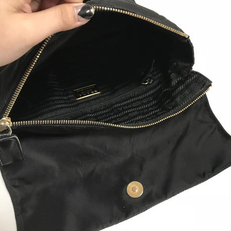 PRADA nylon chain bag black