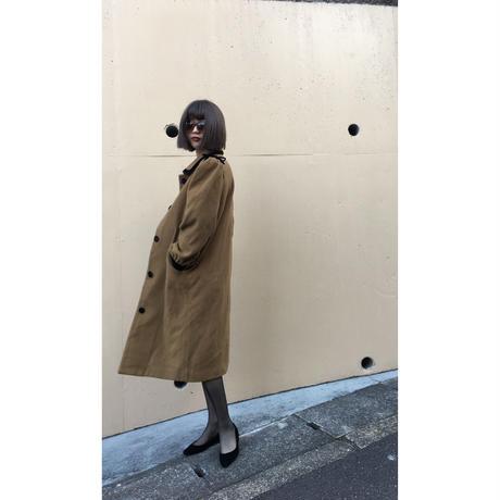 velours ribbon piping wool coat