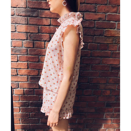 back ribbon frill blouse pink