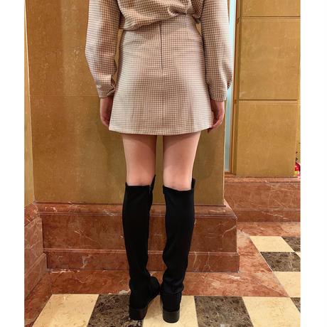 check bottom mini skirt beige