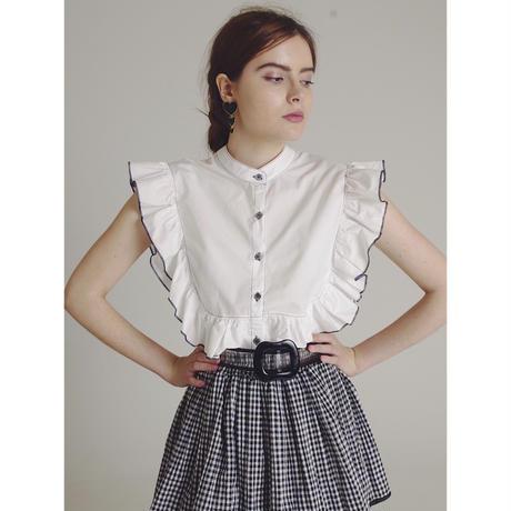 piping frill blouse