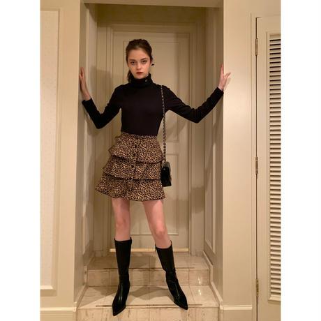 leopard piping 3frill mini skirt