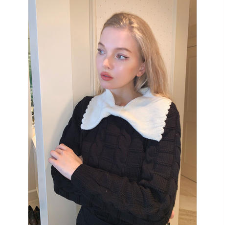 big ribbon collar knit black×white