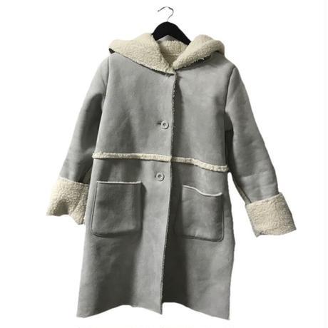 mouton hood coat grey