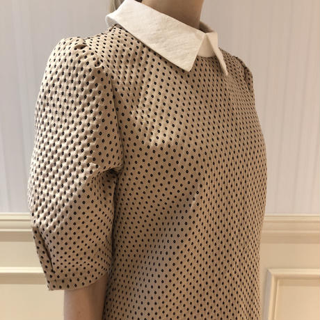 collar embroidery dot onepiece beige