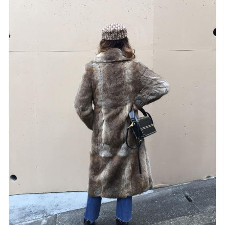 fur long coat beige