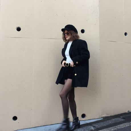 【スペシャルプライス】gold botton wool coat black
