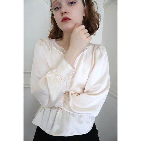 lace satin back ribbon Peplum blouse ivory