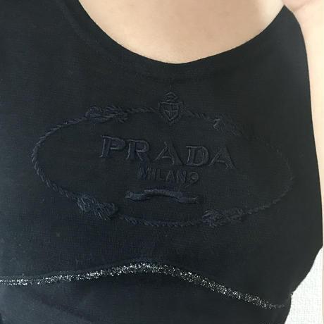 PRADA logo piping tee