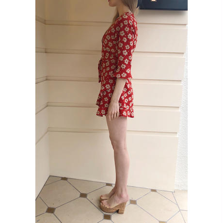 rétro flower rompers red
