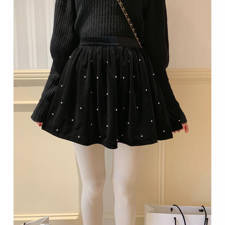 pearl dot velours flare mini skirt