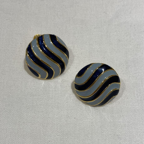 blue border vintage  earring (No.4426)