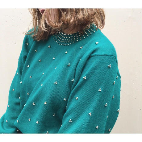 studs design knit green