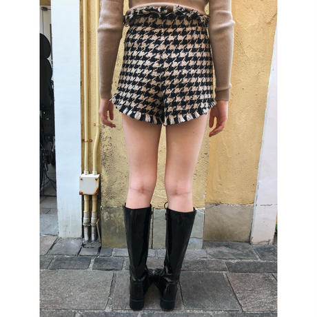 tweed fringe check short pants