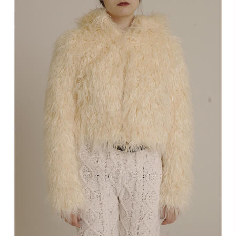 hood 2way volume fur coat white