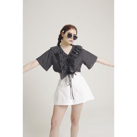 dot frill design blouse black