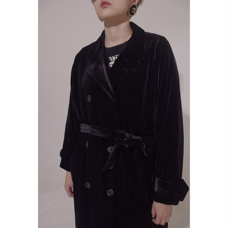 velour gown trench coat black