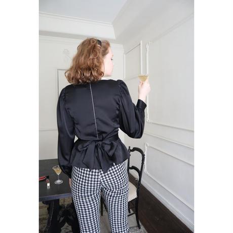 lace satin back ribbon Peplum blouse black