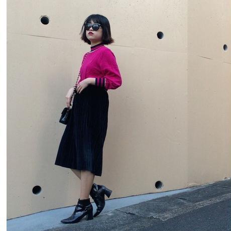 velours pleats skirt black