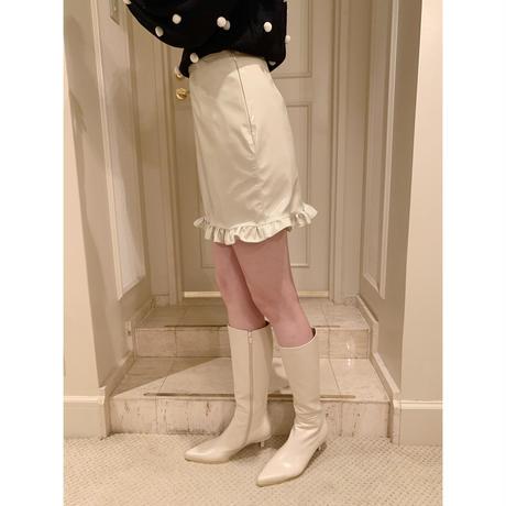 pvc frill mini skirt ivory