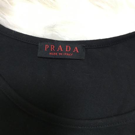 PRADA embroidery line stone tee black