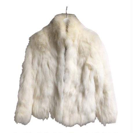white real fur coat