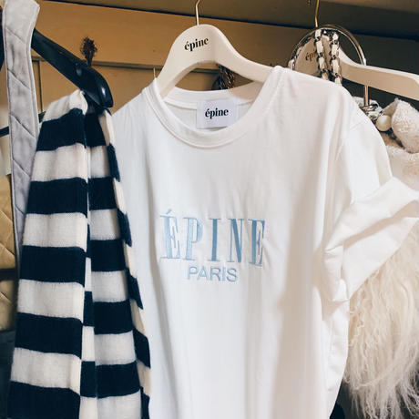 ÉPINE PARIS embroidery tee white×ice blue