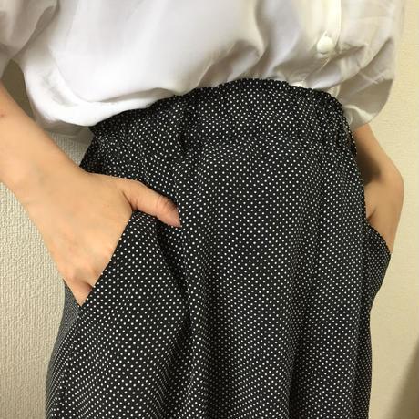 dot chiffon high-waist shirt pants