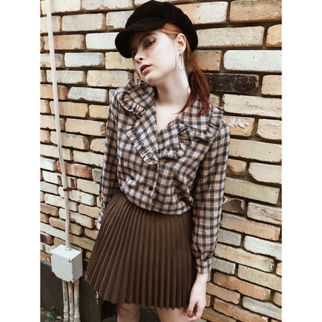 big frill collar check blouse