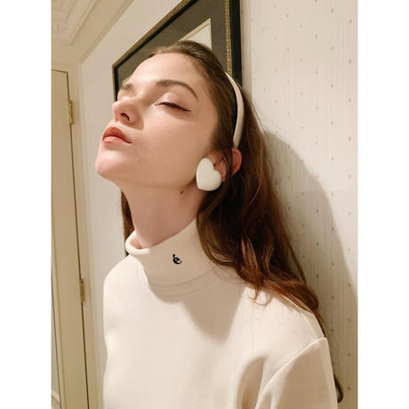 é embroidery cotton high neck ivory