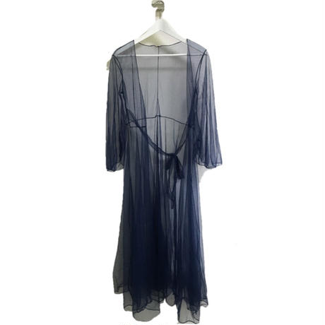 see-through long gown navy