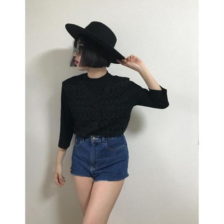lace flower black blouse