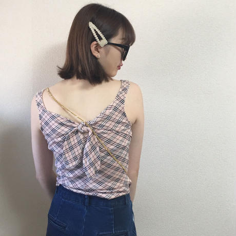 Burberry check design back ribbon tops pink