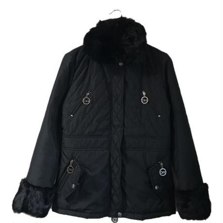 Dior fur logo charm down coat black