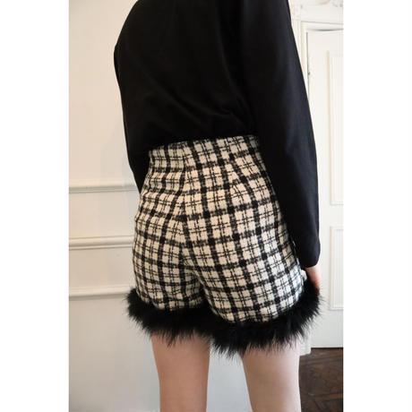 check tweed fur short pants black