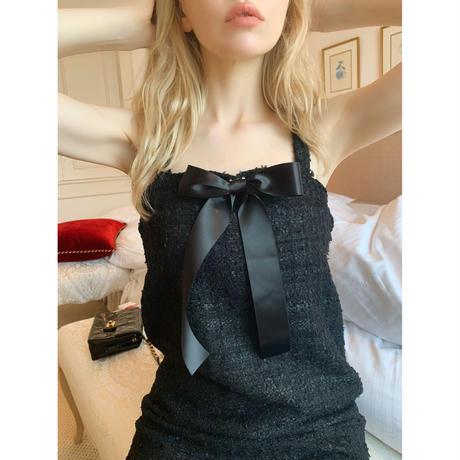 tweed ribbon brooch onepiece black
