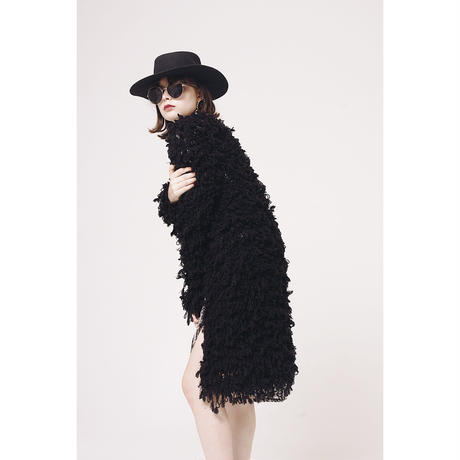 volume knit long cardigan