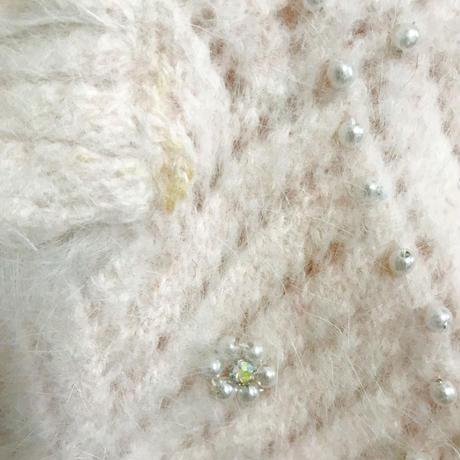 Vintage pearl design mohair knit