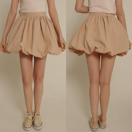balloon volume mini skirt pink beige