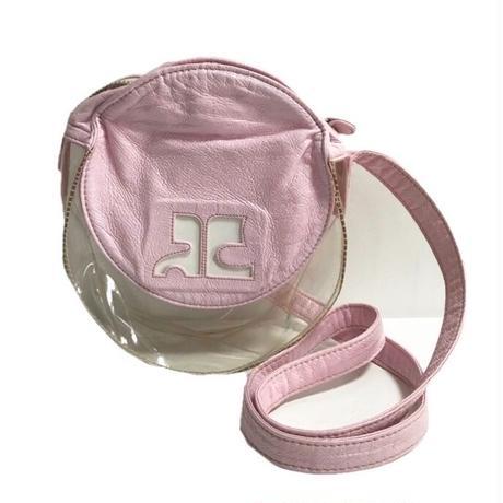 courreges logo pink clear bag