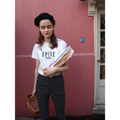 ÉPINE PARIS embroidery tee white×black