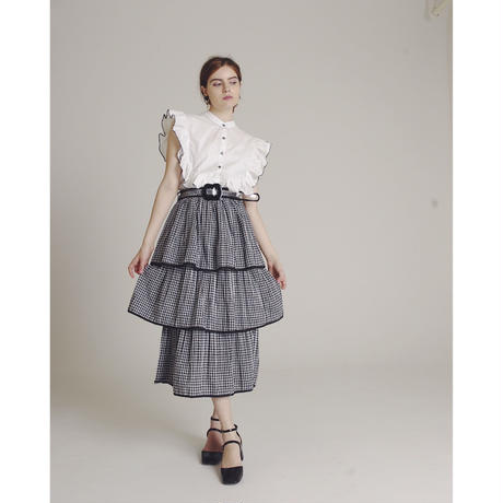 gingham check  3volume skirt
