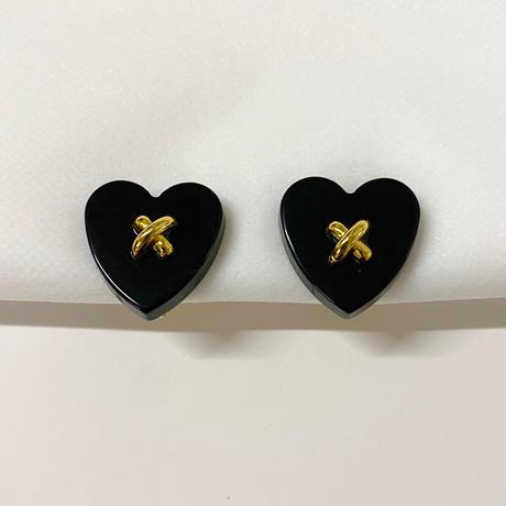 heart black vintage earring